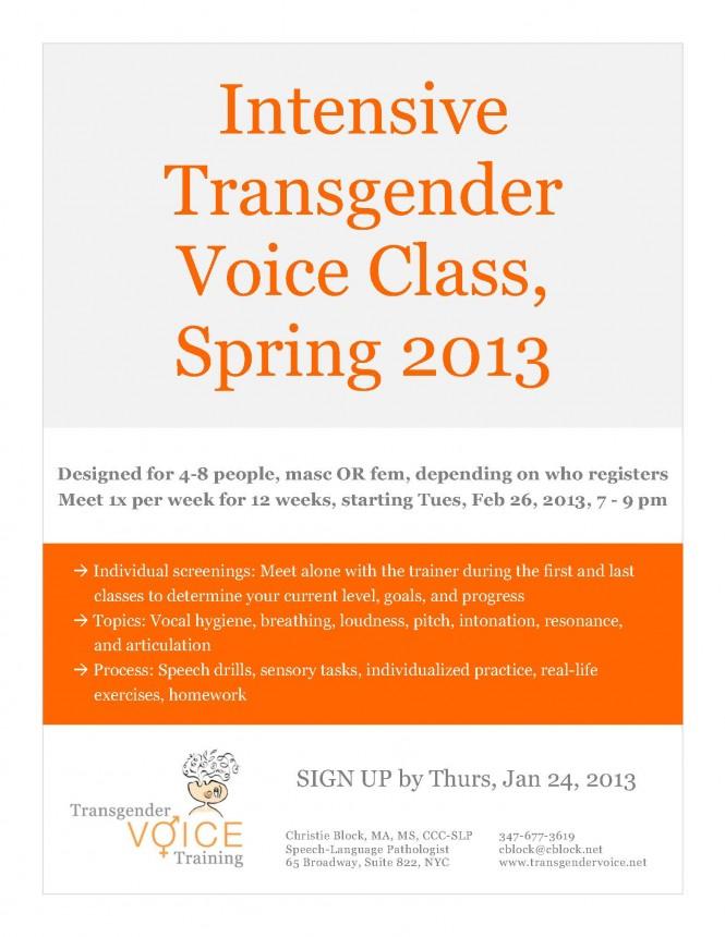 Intensive Transgender Voice Class