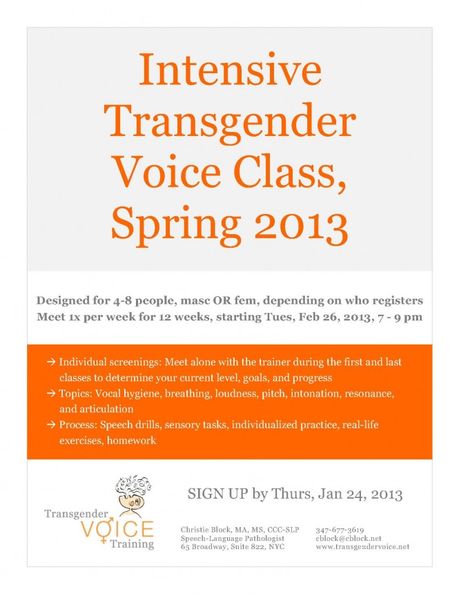 Intensive Transgender Voice Class, Brooklyn Letters